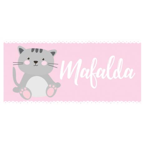 Placa com Nome Tema Gato