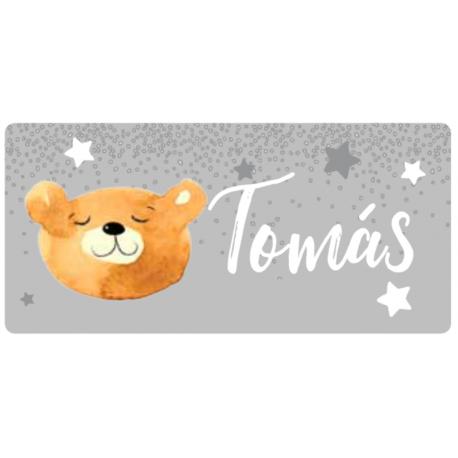 Placa com Nome Tema Urso