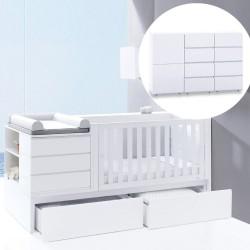 Convertível Neo Modular + Cómoda 3 módulos + Colchão + 3 Têxteis