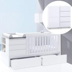 Convertível Neo Modular + Cómoda 2 módulos + Colchão + 3 Têxteis