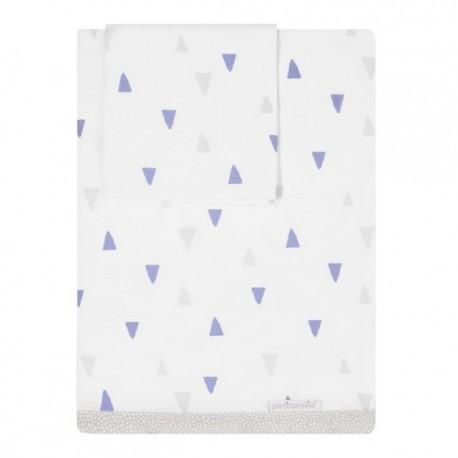Petit Praia Lençóis Estampados Triângulos Nordic Azul