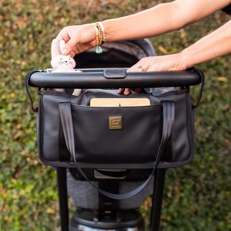 Saco organizador para carrinho de bébe Black Matte Leatherette