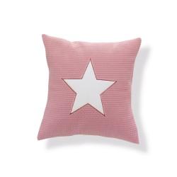 Almofada Decorativa Rosa e Branco